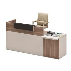 Ewan Reception Desk + Drawers | Light Walnut + White | Modern Furniture