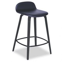 Flip Kitchen Counter Stool | Black American Ash | Upholstered Black Seat Pad