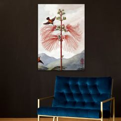 Floral Bird Lithograph | Stretched Canvas | Printed Panel