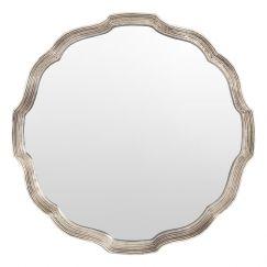 Genevieve Round Mirror with Silver Frame   Schots