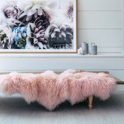 Genuine Mongolian Sheepskin Area Rug | Blush 160cm x 90cm