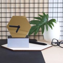 Geo Desk Clock | Mirror Gold