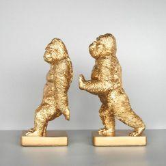 Gorilla Bookend Set   Gold