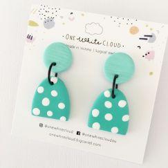 Green Spot Earrings by One White Cloud