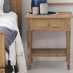 Hamilton Cane Bedside Table   White or Weathered Oak