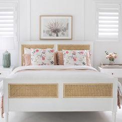 Hamilton Cane Queen Size Bed | White