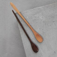 Hand Carved 20cm Sapodilla Long Slim Spoon