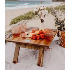 Hardwood Folding Wine Table | 6 | Glass