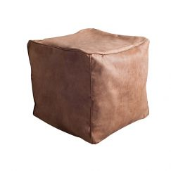 Harlow Leather Ottoman | Tan | BY SEA TRIBE