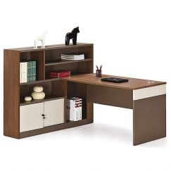 Harvey Workstation Desk + Right Return | Walnut + Warm White | Modern Furniture
