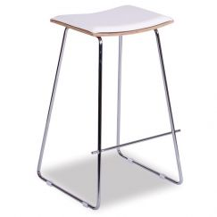 Hudson Timber Counter Stool Replica | Chrome Frame & White Padded Seat