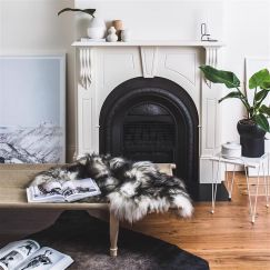 Icelandic Sheepskin Rug | Natural White with Black Streaks