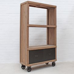 Industrial Bookshelf with Drawer