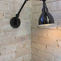 Industrial Two Arm Swing Wall Lamp | Black Enamel