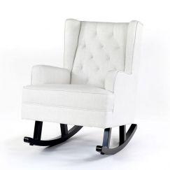 Isla Wingback Rocking Chair   Linen White with Black Legs