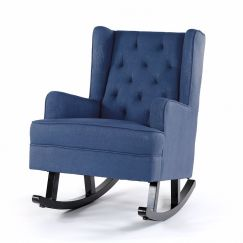 Isla Wingback Rocking Chair | Navy with Black Legs
