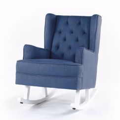 Isla Wingback Rocking Chair   Navy with White Legs