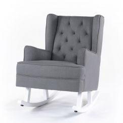 Isla Wingback Rocking Chair | Wolf Grey with White Legs