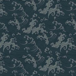 Japanese Wave Wallpaper - Teal