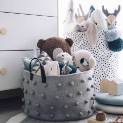 Jester Felt Storage Basket Short Grey
