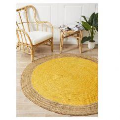 Jute Natural Circle Rug | Yellow
