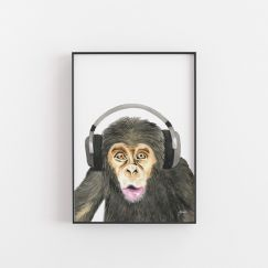 Kelvin the Music Monkey Wall Art Print by Pick a Pear | Unframed