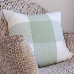 Large Linen Green Check Cushion Cover