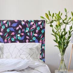 Leaf Noir Velvet Upholstered Bedhead   All Sizes   Custom Made by Martini Furniture