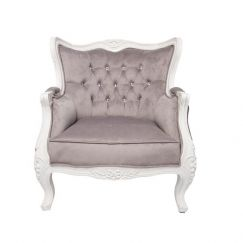 Louis 1 Seater | White Mahogany and Silver/Grey Velvet