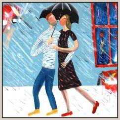 Love In Rain | Framed Canvas, Framed Print, Unframed Print | by Kitti Narod