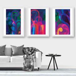 Lunar Garden Triptych   Limited Edition Giclee Art Print