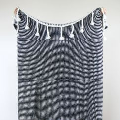 Mason Waffle Knit Throw | Black | by Collective Sol
