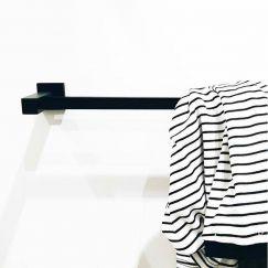 Meir Square Matte Black 900mm Black Towel Rail