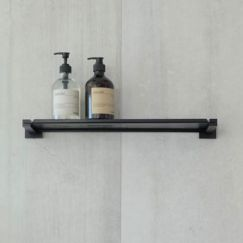 Meir Square Matte Black Bathroom Shelf