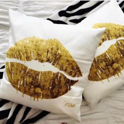 Melissa LaBozzetta Gold Lips Cushions | White