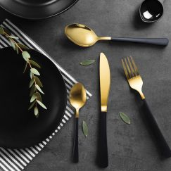Milano Decor Cutlery | Black & Gold