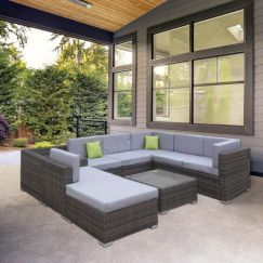 Milano Outdoor 9 Piece Oatmeal and Grey Rattan Sofa Set