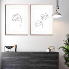 Minimal Monstera & Monstera 2   Framed Prints by United Interiors