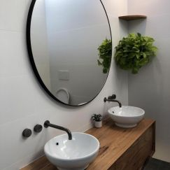 Modern Black Circular Round Mirror | 110 and 120 cm