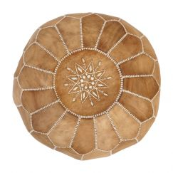 Moroccan Leather Ottoman Pouffe Cover | Tan | by Black Mango