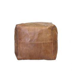 Moroccan Leather Square Ottoman Pouffe Cover | Tan | by Black Mango