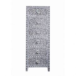 Mother of Pearl Inlay Lingerie Tallboy in Grey