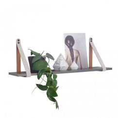 Mushroom Suede Leather Strap Shelf | Charcoal