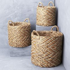 Natural Chevron Waterhyacinth Basket with Seagrass Pattern