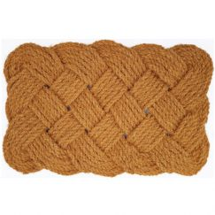 Natural Handmade Lovers Knotted Rope Woven Coir Doormat | Pepperfry
