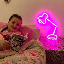 Neon Desk Lamp | Pink Facing Left