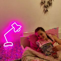 Neon Desk Lamp | Pink Facing Right