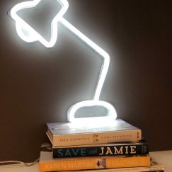 Neon Desk Lamp | White Facing Left