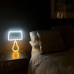 Neon Side Table Lamp | White and Yellow