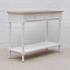 New Marseille Console | White / Weathered Oak Top
